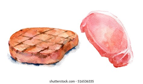 Set of fried and raw pork chop. Watercolor illustration on white background. Isolated.