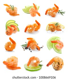 Set of fried shrimps on white background