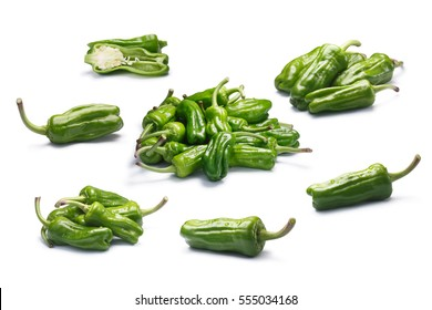 Set of Friggitelli, a Tuscan or Greek mild peppers, called Pepperoncini in the US (Capsicum annuum). Clipping paths for each object, shadows separated