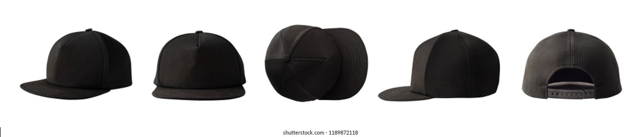 Set of front, side, top and back views of snapback baseball cap isolated on white background