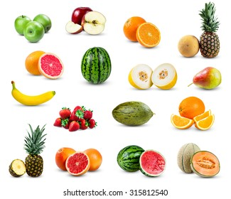 set of fruit collection isolated on white background.