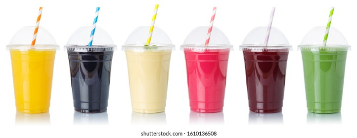 Set of fruit smoothies fruits orange juice straw drink in cups isolated on a white background