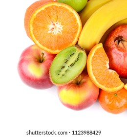 Set of fruits isolated on white background. Healthy food.