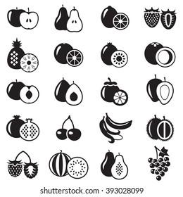 Set of fruits monochrome icons illustration