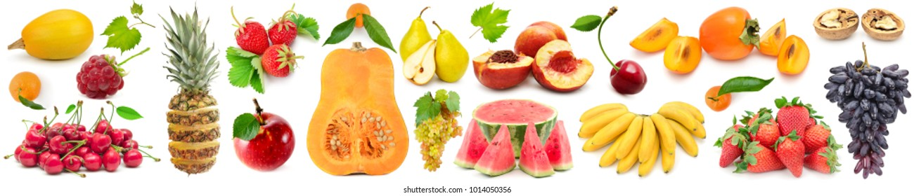 Set fruits and vegetables isolated on white background. Wide panoramic photo.