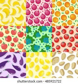 Set of fruits and vegetables seamless pattern s. Flat style. Banana, orange, apple, grape, lemon, potatoes, tomatoes, pomegranate, eggplant ornament for wallpapers, web design, backgrounds.