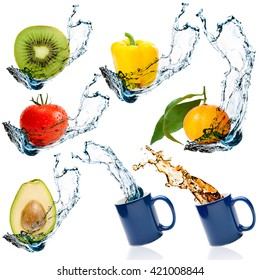 Set of fruits and vegetables with water splash isolated on white background