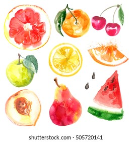 Set of fruits. Watercolor painting on white background. Apple, orange, pear, watermelon