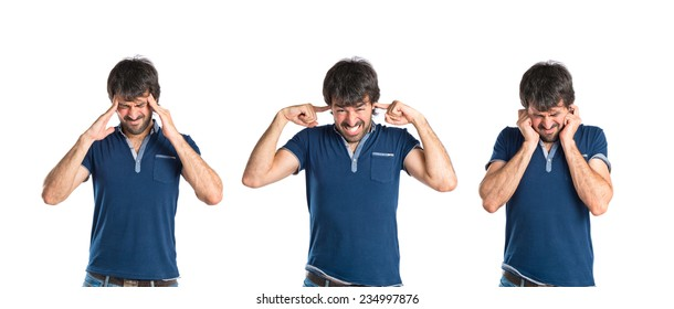 Set of frustrated man over isolated white background