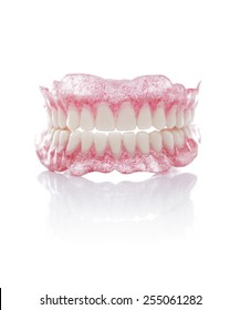 A Set of Full Dentures Isolated on White Background