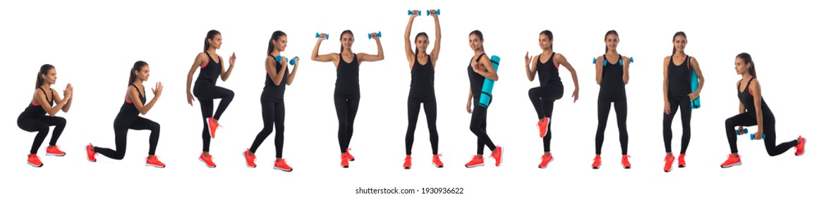 Set of full legth portraits od healthy hispanic fitness girl with doing workout squat exercise dumbbell isolated on white background
