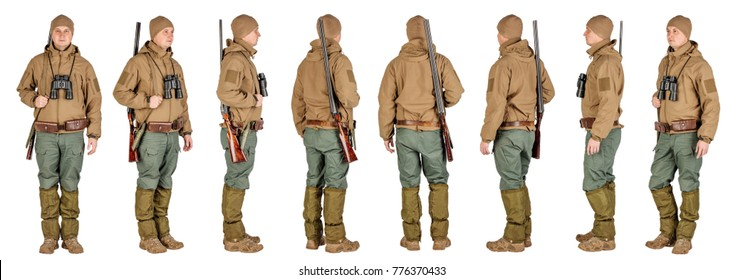 Set of full length male hunter with double barreled shotgun Isolated on white background. hunting and people concept.