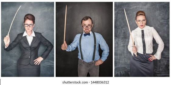 Set of funny angry teacher in eyeglasses with pointer on blackboard background