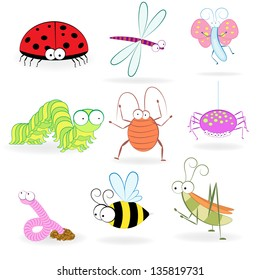 Set of funny cartoon insects.