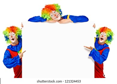 Set of funny clown standing over a white background and smiling