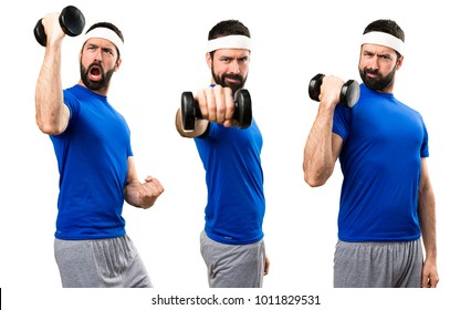 Set of Funny sportsman making weightlifting