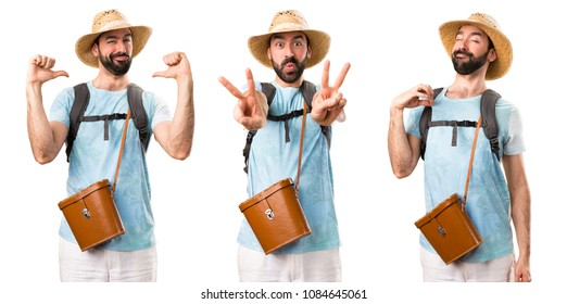 Set of Funny tourist making victory gesture