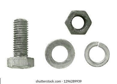 a set of galvanized ring, a grover's washer, a bolt and a nut on an isolated white background