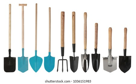 Set of gardening tools, hand Trowels and hand fork isolated