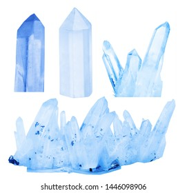 set of gem crystals isolated on white background