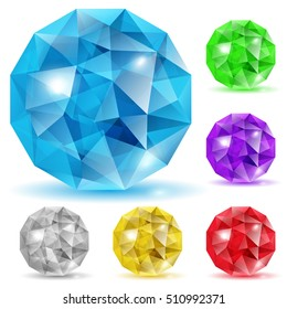 Set of gems in the shape of spheres in various colors