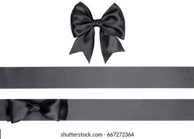 Set of  gift bow and satin black ribbons