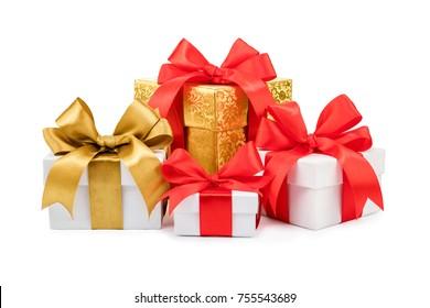 set of gift box isolated on white background,
