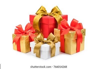set of gift box isolated on white background.