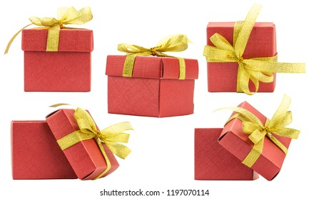 Set Gift Box on White background,Clipping path.