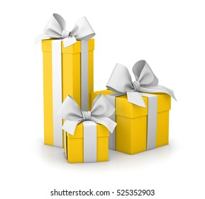 set of gift box yellow  isolated for Christmas and New Year's Day white background 3d rendering