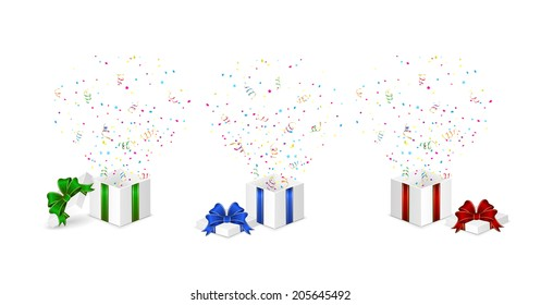 Set of gift boxes with confetti and tinsel isolated on white background, illustration.