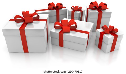 set of gift packages on a white background