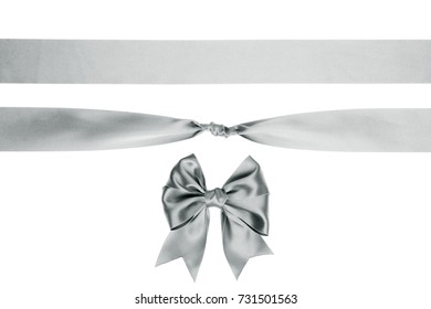 Set of gift silver silk bow and ribbon Isolated on white