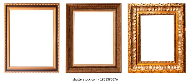 Set of gilded antique picture frames isolated on white background.