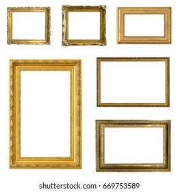 Set of gilded (gold)  frames isolated on white