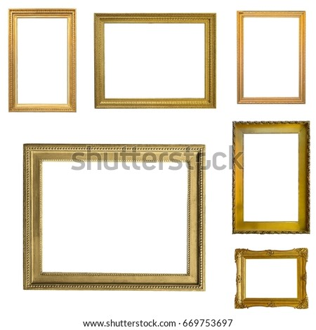 3b2b7d697ed Set Gilded Gold Frames Isolated On Stock Photo Edit Now 669753697