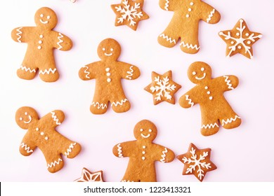 Set of gingerbread man isolated on white background