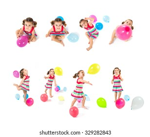Set of girls playing with balloons over white background