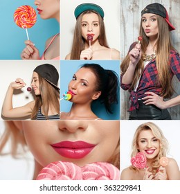 Set of girls with tasty colored candy