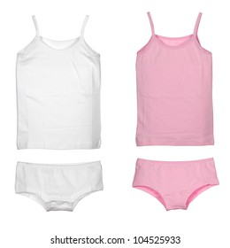set of girl's underwear isolated over white background