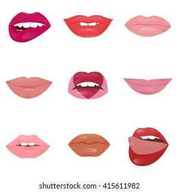 Set of glamour lips with different lipstick colors isolated on white background. Beautiful shiny female lips collection. Sexy kisses. Romantic passion mouths. Lips with teeth and tongue. icon