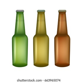 Set of glass beer bottles isolated.