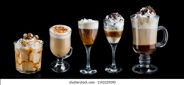 Set glass of coffee frappe, macchiato, irish, mocha isolated on a black background. Sweet and hot beverage.
