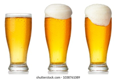 Set of a glass of cold light beer with foam isolated on white background