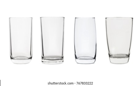 set of glass isolated on white background.