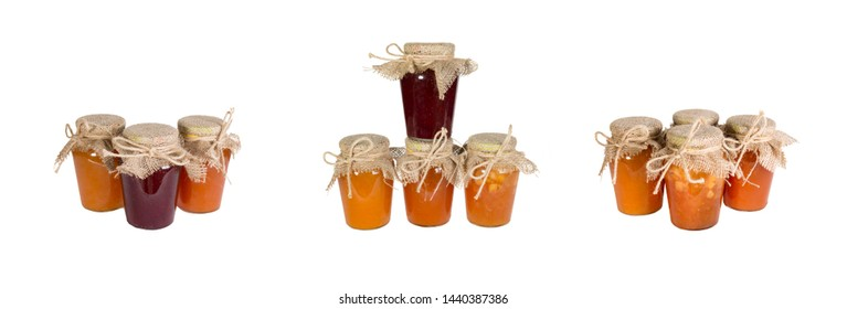 Set from of glass jars with canned vegetables on a white background. Panoramic image. Isolated