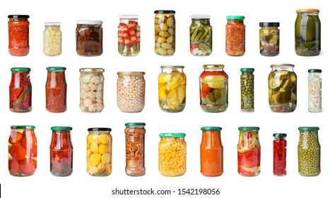 Set of glass jars with different pickled vegetables on white background