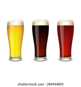 Set of glasses with beer isolated on white background.