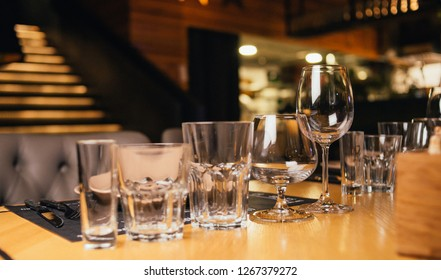 set of glasses on the table