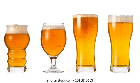 Set of glasses with wheat light India Pale Ale beer with foam isolated on white background